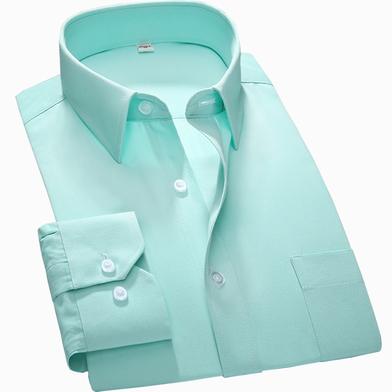 S~7xl Large Men Shirt New Regular Fit Plus Size Square Collar Long Sleeve Solid Plain /twill /striped Formal Mens Dress Shirts