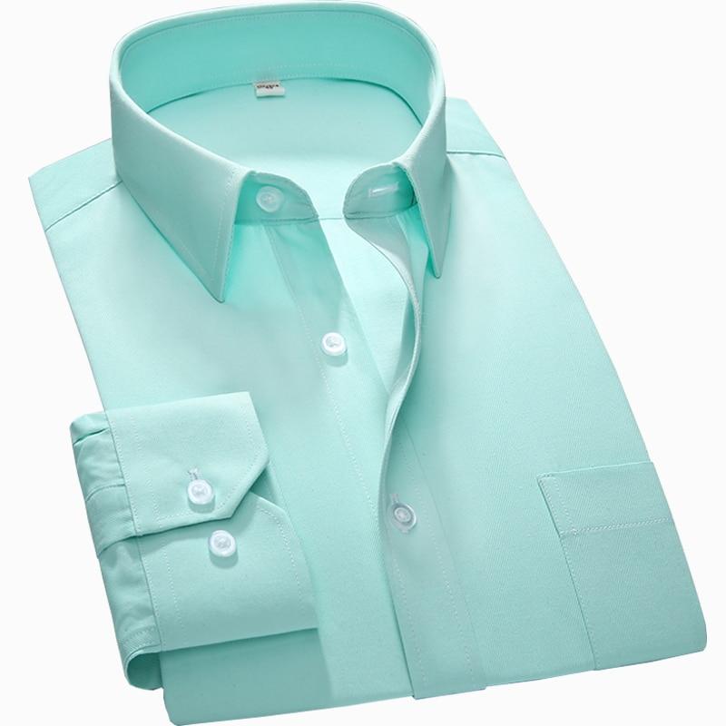 S~7xl Large Men Shirt New Regular Fit Plus Size Square Collar Long Sleeve Solid Plain /twill /striped Formal Mens Dress Shirts