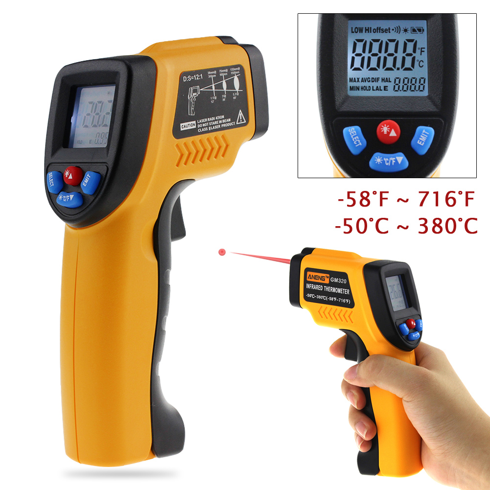 GM320 Non-Contact Laser LCD Digital Thermometer handheld IR Infrared Thermometer Temperature Meter Guage Point Gun -50 to 380 C digital infrared ir thermometer laser temperature gun non contact 50 1 with lcd backlight gm1350 18 1350c 50 1