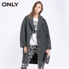 ONLY горячие женские высокого качества модные тенденции сплошной плюшевый бархат пальто свободного покроя длинная верхняя одежда топ 115336019