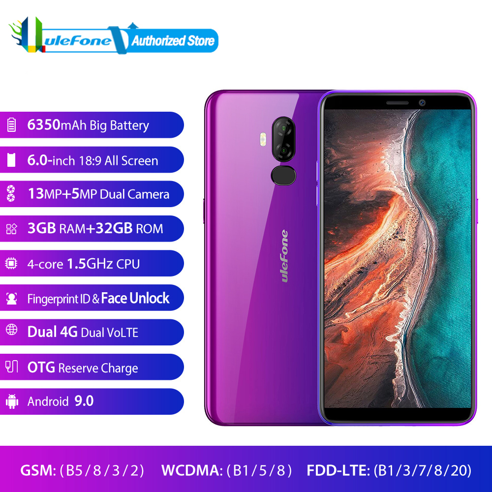 Ulefone P6000 Plus 6.0 Inch 18:9 HD+ Smartphone 6350mAh MT6739 Ouad Core 3GB 32GB Face ID Android 8.1 Mobile phone-in Cellphones from Cellphones & Telecommunications    1