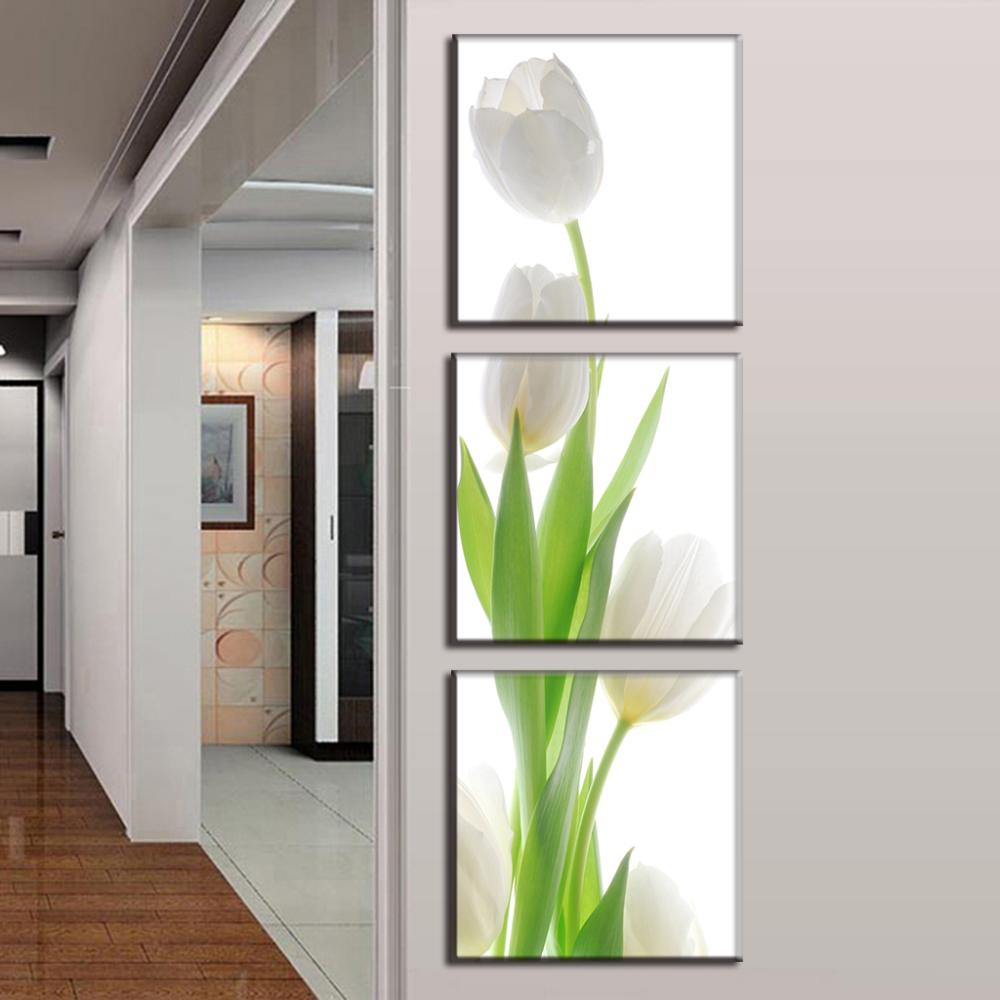 3 Pcs/Set Modern wall paintings flower White Tulip canvas print home ...