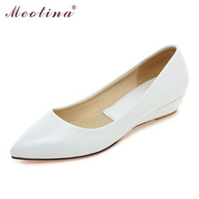 Meotina Wedges Women Shoes Office Lady Comfort Work Shoes Low Heels Black Pumps Ladies Wedges White Green Plus Size 9 10 41 43