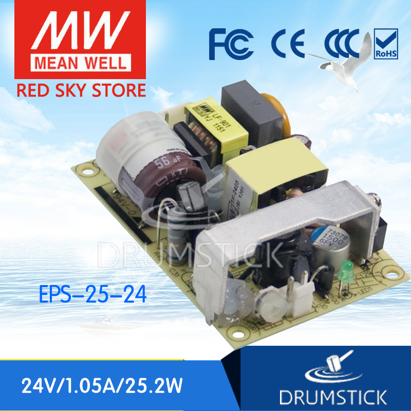 ФОТО Redsky [free-delivery 5Pcs] MEAN WELL original EPS-25-24 24V 1.05A meanwell EPS-25 25.2W Single Output Switching Power Supply
