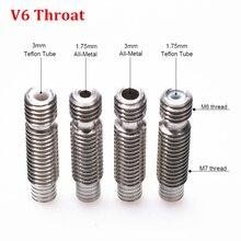 E3D V6 Throat Bowden Stainless Steel Teflon Tube Long Thread For 1.75mm 3mm Filament 3D Printer Parts Full Metal Part