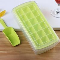 18 Lattice Plastic Ice Cube Square Freeze Frozen Mold Jelly Bar Maker With Ice Scoop And