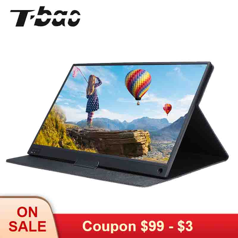 T bao T15A Portable Monitor 1920x1080 HD IPS 15.6 inch Display Computer LED Monitor with Leather Case for PS4/Xbox/Phone-in LCD Monitors from Computer & Office    1