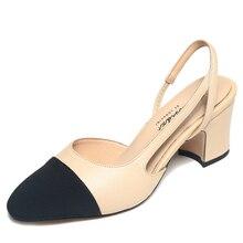 2016 Fashion High Heels Women Pumps Shoes Genuine  Leather Woman Sandals Thick Heel Sandalias Patchwork  Zapatos