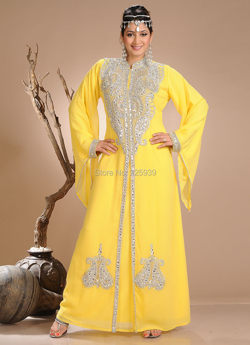 6236937ee3e Arabic Style High Neck Sparkly Silver Beaded Dubai Caftan Long Sleeves  Evening Dresses No Train Pakistan Kaftan Yellow Gowns-in Evening Dresses  from ...