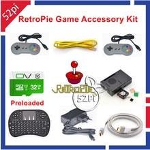 32 GB Consola de Juegos Precargados RetroPie Accesorios Kit con Joystick Gampad para Raspberry Pi 3 Modelo B