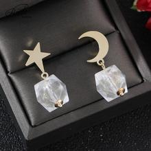 Badu Transparent Crystal Stud Earrings for Women Gold Moon/Star Alloy Cute luxury Acrylic Statement Summer Jewelry