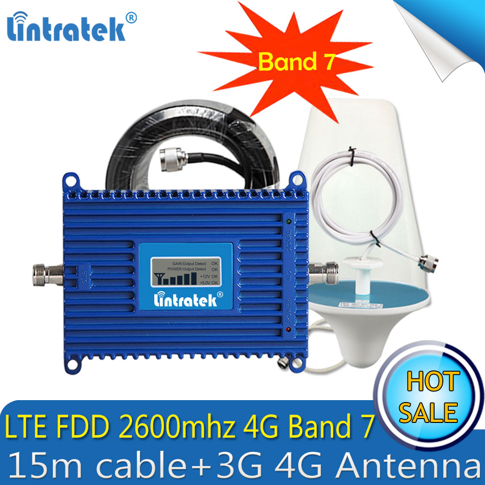 lintratek 4G LTE 2600 mhz Mobile Phone Signal Amplifier 70dB 4G Internet Cell Phone Cellular Booster