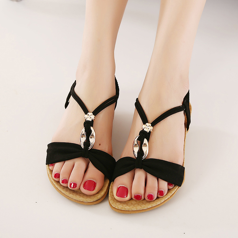 11e99c9bc092f8 Plus big size 42 women Sweet Bohemian flat sandals beach shoes Black Beige  leather