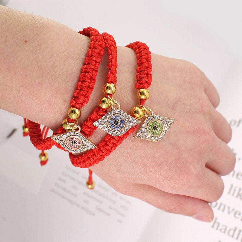 Lucky Hamsa Evil Protect Kabbalah Red String Bracelets Crystal Evil Eyes Jewelry