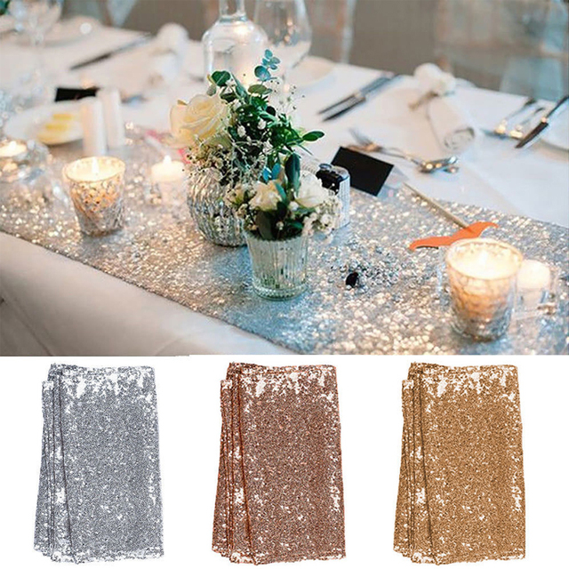 Rose Gold /Champagne Sequin Table Runner 30x275cm Sparkly ...