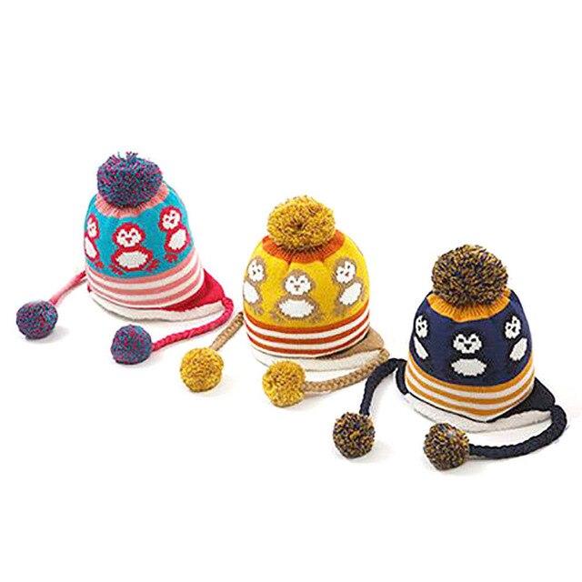 Nette bunte pinguin mit samt cap warme winter häkeln earflap hut für ...