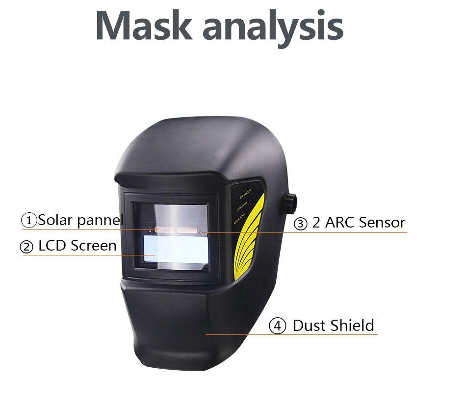 Leopard {Joker} /Énergie Solaire /& Batterie Grande Vue Fonction de Broyage Masque de Casque de Soudage Assombrissement Automatique