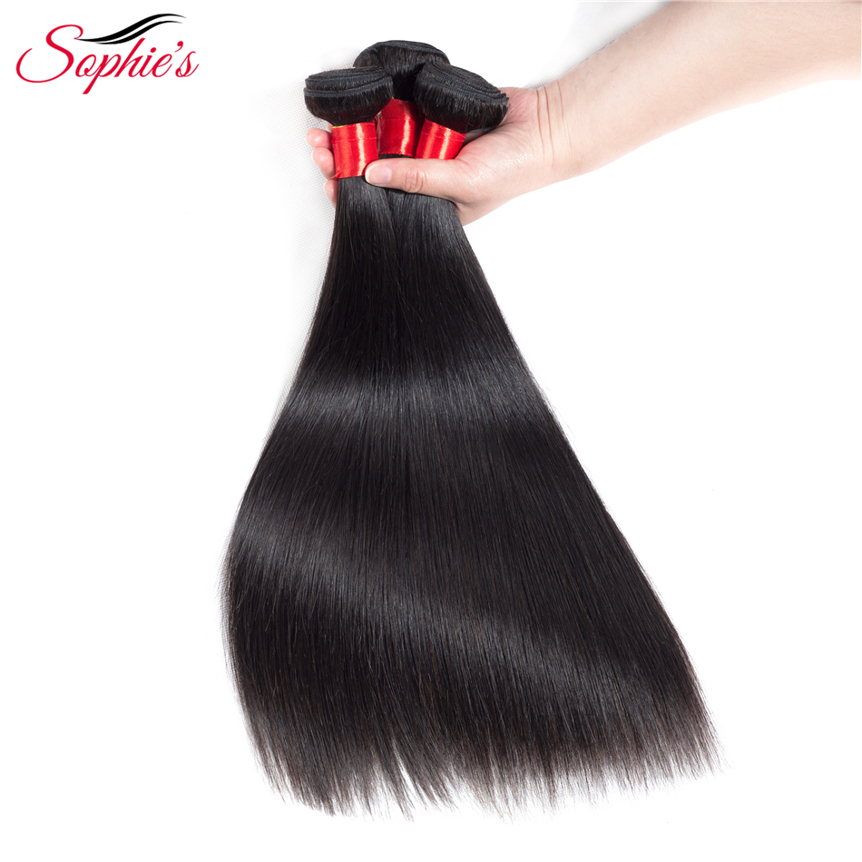 Sophies Hair Peruvian Straight Human Non-Remy Hair Weaves 3 Bundles Natural Color Hair Extensions Bundles