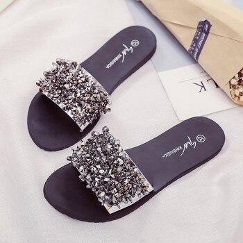Silver Rhinestone Slippers Women Slides Summer Beach Fashion 2018 Sandals Rivet Casual Flats Ladies Shoes Sandals Shiny
