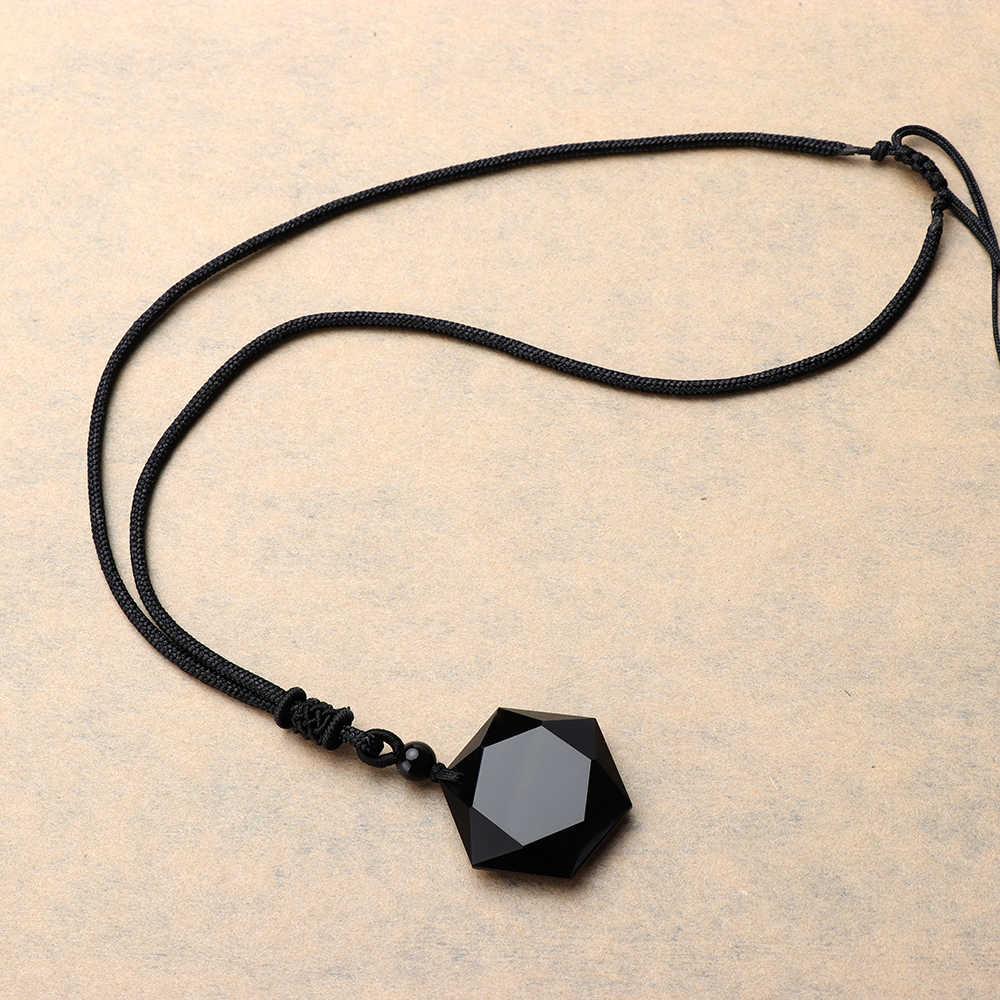 1 sztuk czarny obsydian naszyjnik wisiorek z kamienia naturalnego dla kobiet mężczyzn Cubic heksagram naszyjnik sweter amulety talizman biżuteria