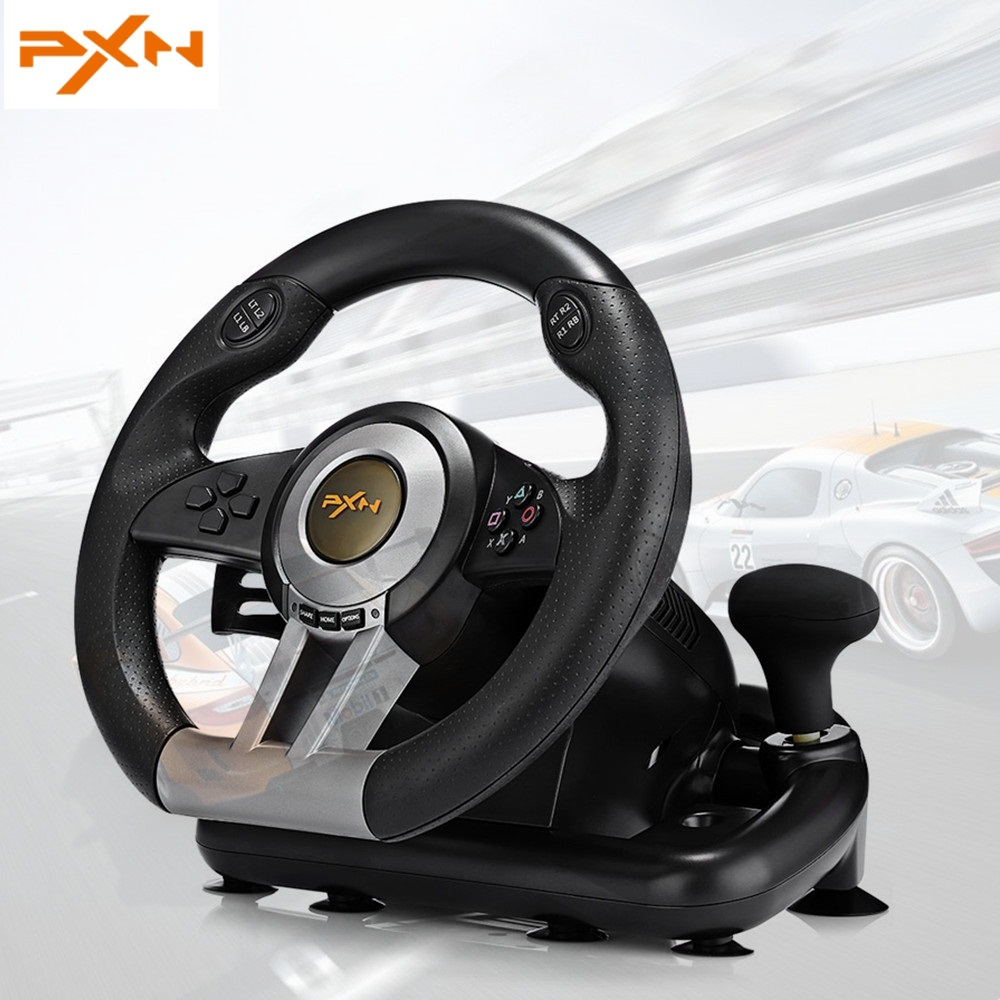 PXN V3II Racing Game Steering Wheel USB Game Controller Computer Car Driving Simulator for PC Wii Games Wheel for PS3 PS4 Xbox learning driving skills generation computer racing games steering wheel motor racing steering wheel vibration with handbrake
