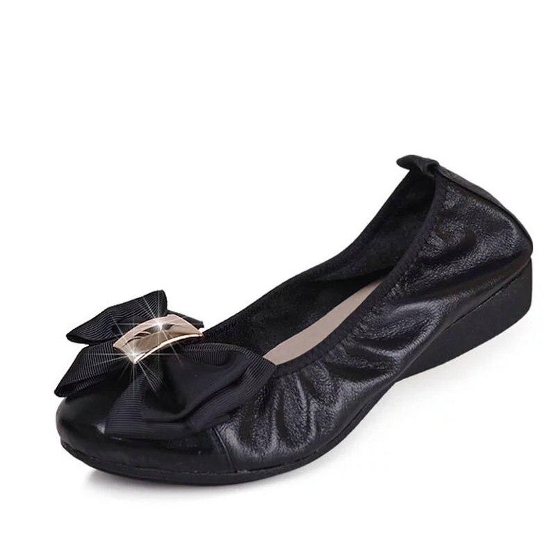 Noir Femelle Taille Chaussures black Ballerines Couleur 35 En Bowtie Femmes Simples Apricot Cuir Talons Bas À Enceintes Grande Abricot Véritable Big 43 4SPUnqqa
