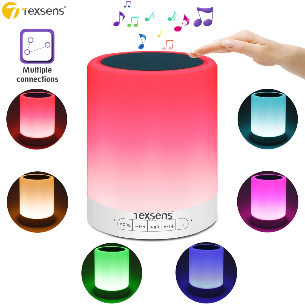 Texsens LED Bedside Night Light Multiple Connections App Controlled Touch Sensor Bluetooth Speaker Music Light RGBW Baby Lamps