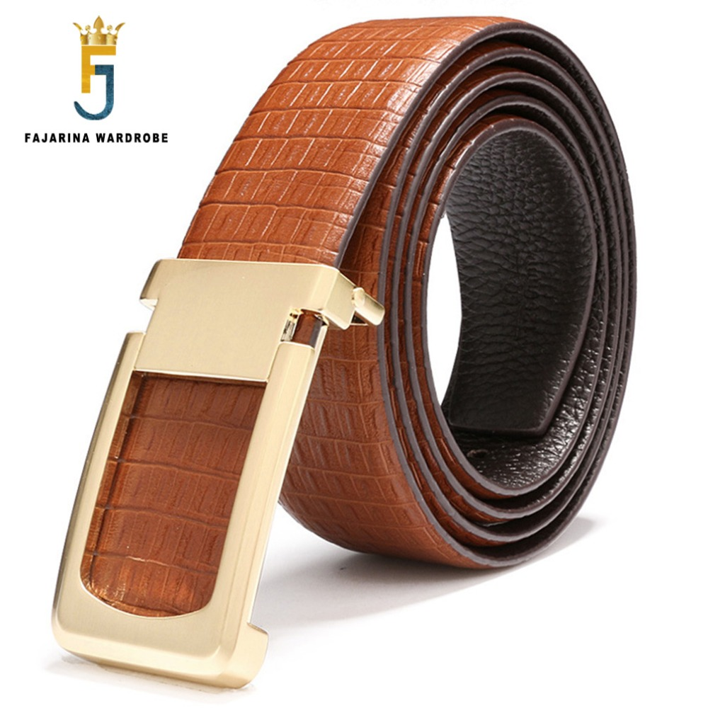 FAJARINA High Quality Casual Male Striped Cowskin Mens Belt Genuine Leather Smooth Buckle Metal Waist Belts
