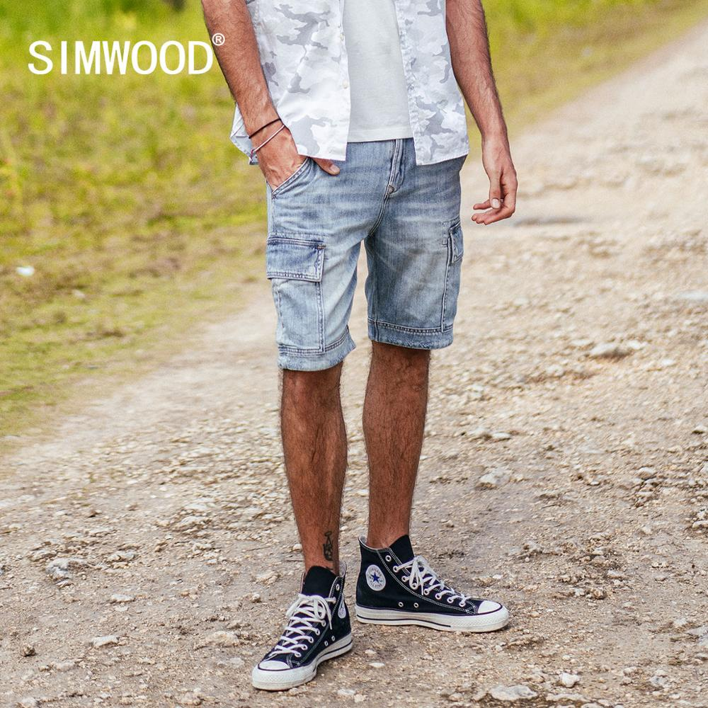 SIMWOOD 2019 summer new denim cargo   shorts   men 100% cotton fashion hip hop   short   jeans slim fit fashion streetwear 190006