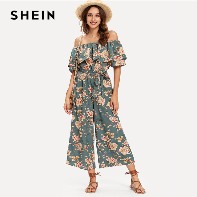c7b4cb72ef SHEIN Flounce Off Shoulder Self Tie Culotte Jumpsuit Half Sleeve Tiered  Layer Jumpsuits Women Summer Beach Vacation Jumpsuit