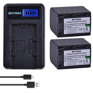 Image 1 - 2 paket 2500mAh NP FV70 NP FV70 NPFV70 piller ve LCD USB şarj aleti Sony NP FV50 FV30 HDR CX230 HDR CX150E HDR CX170 CX300 z1