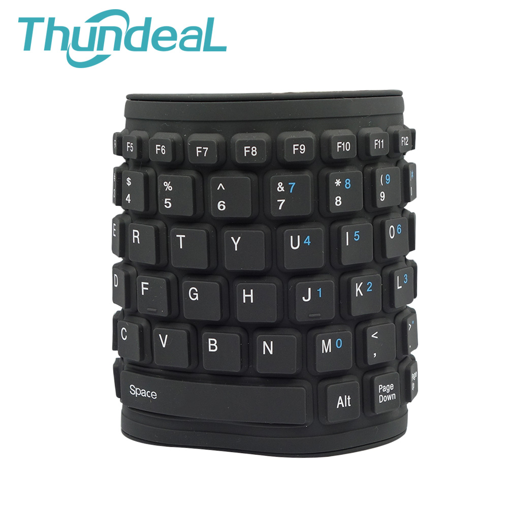 aaeb0c933dc Mini Keyboard Waterproof Washable Silicone Foldable Flexible Keyboard USB  Keypad Teclado for Tablet Computer Laptop Black 84 Key