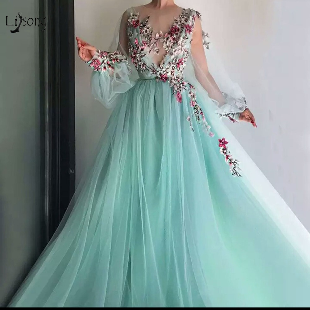 Pretty Mint Green Floral Embroidery Lace Prom Dresses Puff Full Sleeves Illusion O-neck A-line Party Dress Vestido Formatura