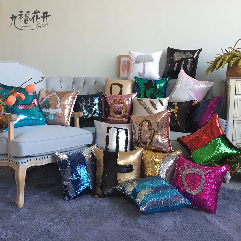 Pillowcase Decorative Mermaid Sequin Colorful Square Plain Knitted Hidden Zipper Pillow Home Car Sofa Cushion Cover 40*40cm