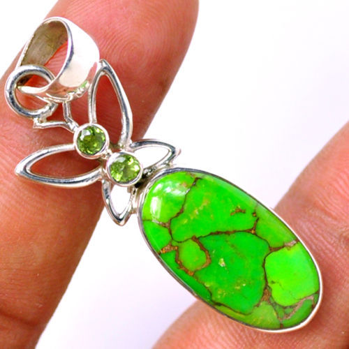 Genuine Green Copper Turquoise Pendant 925 Sterling Silver AP0500 48mm