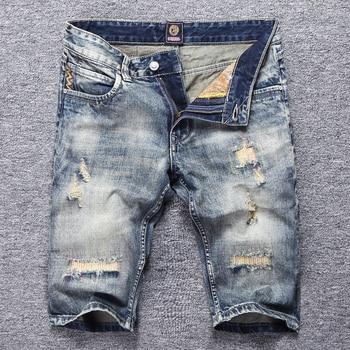 Vintage Retro Short Jeans Men Summer Fashion Ripped Jeans Denim Shorts Destroyed Patchwork Streetwear Hip Hop Jeans Shorts Men zips embellished destroyed jeans