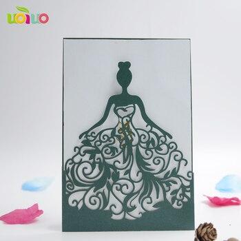 50pc Classical hot sale delicate and unique design laser cut bride wedding birthday invitation card