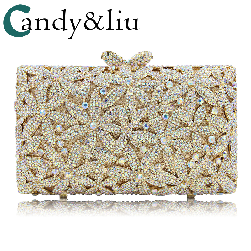 dress bag gold 2018 new summer full diamond hollow petal crystal dress bag female party girl day clutches evening bag dress bags bags red crystal day clutches new 2018 european luxury dinner bag bride hollow diamond grade crystal full diamond hand chain bag