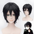 Free Shipping!! Anime Sword Art Online Kirito Cosplay Wig Kirigaya Kazuto Black Short Synthetic Hair party Wigs+A wig cap