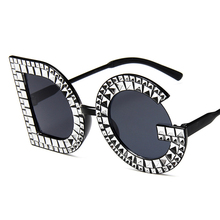 Fashion Crystal Diamond Round Oversized Sun glasses Brand Lu