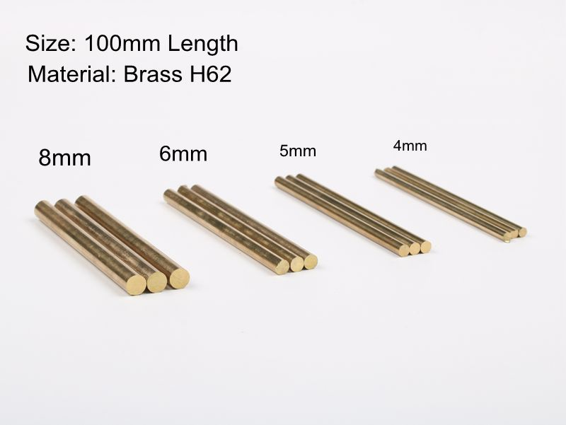 100mm X 4mm/5mm/6mm/8mm Brass Bar Rod  Stick For Knife Diy Handle Parts Round Rivets