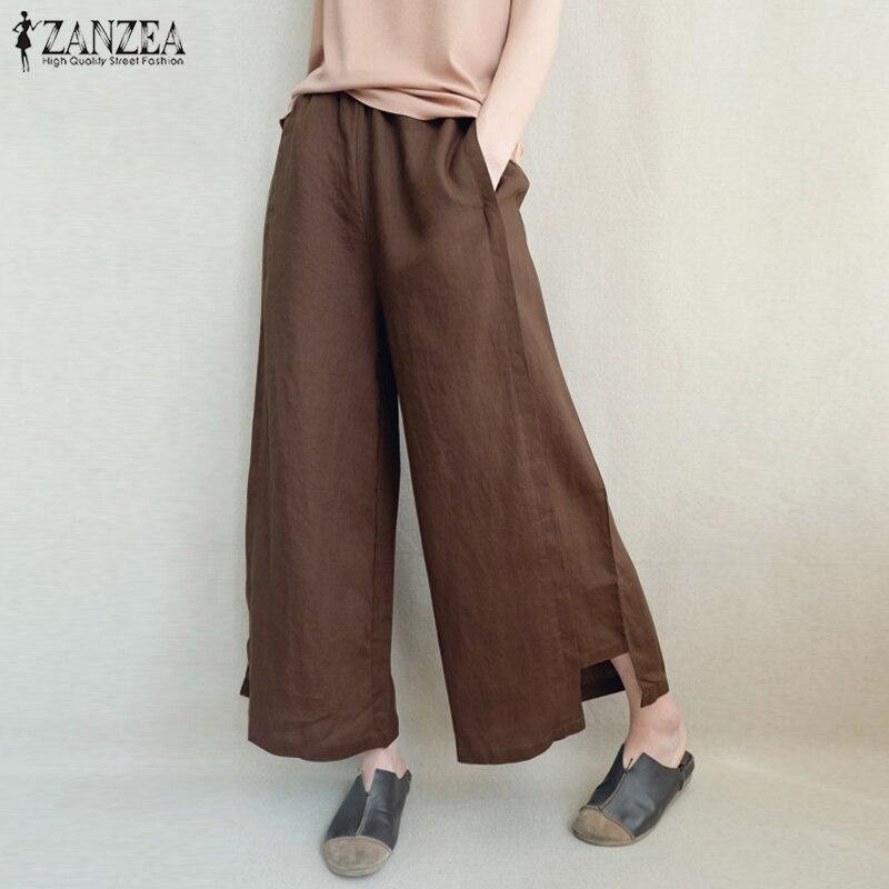 2018 Plus Size ZANZEA Elegant Elastic Waist Work Office Pantalon Summer Trousers Women Casual Solid Cotton Linen   Wide     Leg     Pants