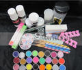 acrylic nail kit manicure Acrylic Liquid Powder Glitter Clipper Primer File Nail Art Tips Tool Brush Tool Set Kit  free shipping