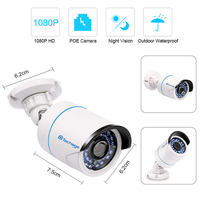 Techage 8CH 1080P ЖК-монитор POE NVR комплект системы видеонаблюдения 2.0MP наружная Домашняя безопасность ip-камера P2P система видеонаблюдения Комплект