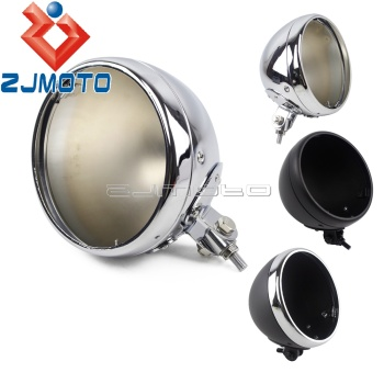 Universal Chrome Motorcycle Round 7 LED Headlight Housing Headlamp Light Bulb Bucket For Harley 7inch Headlight Bottom Mount 1pcs x chrome led headlight for harley davidson v rod vrod headlight vrsc v rod led headlight motorcycle aluminum headlight