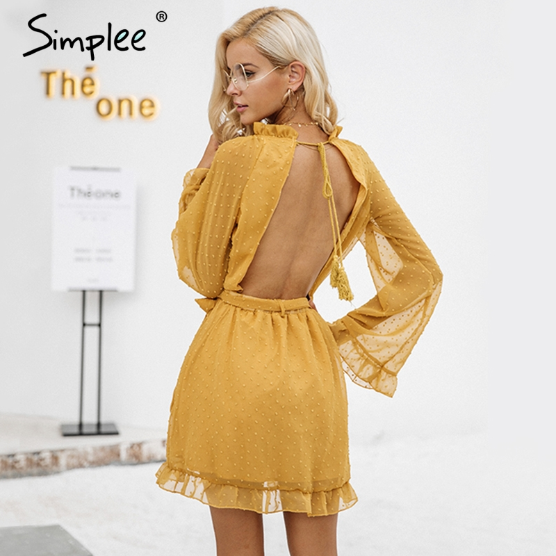 Simplee Lace up backless mesh frauen kleid Elegante strähnig selvedge schärpe mini kleid Mode lange flare hülse sexy kleid vestidos