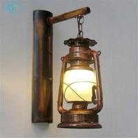 Retro Loft Vintage barn lantern Bamboo Wall lamps Milky Frost glass lampshade Metal Rustic Matty lights kerosene burner lighting
