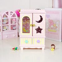 cartoon Swimmer Pink/purple wood box home decoration moon star DIY dolls clothes girls domestic Doll Kit accessories collection