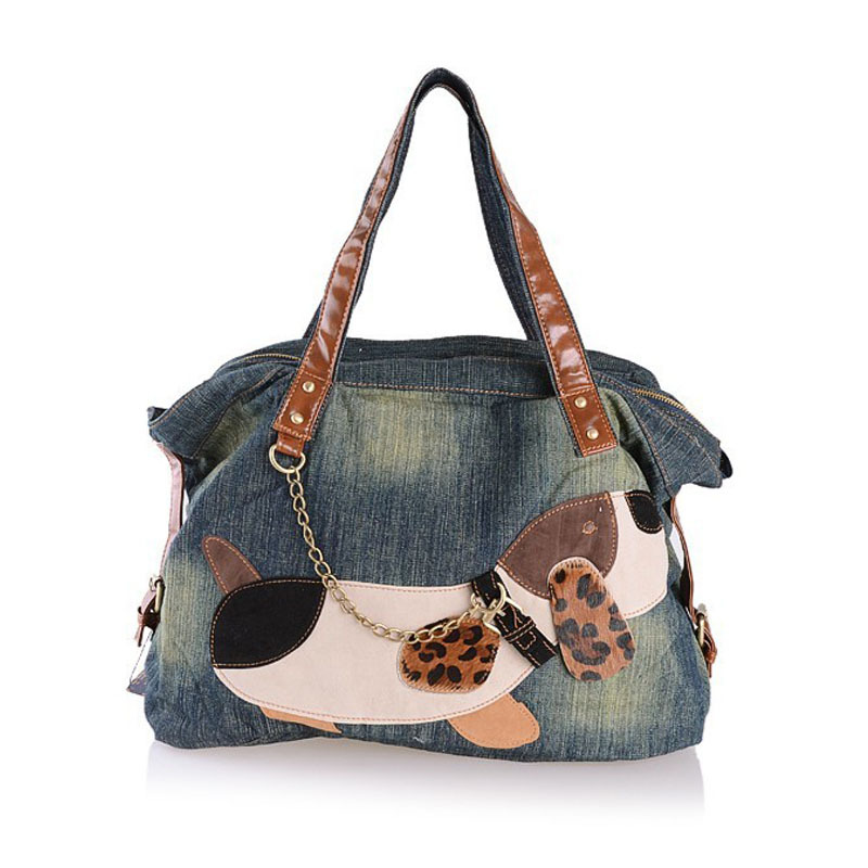 ФОТО Fashion dog denim bag women designer handbags high quality shoulder bags ladies hand bag bolsa feminina