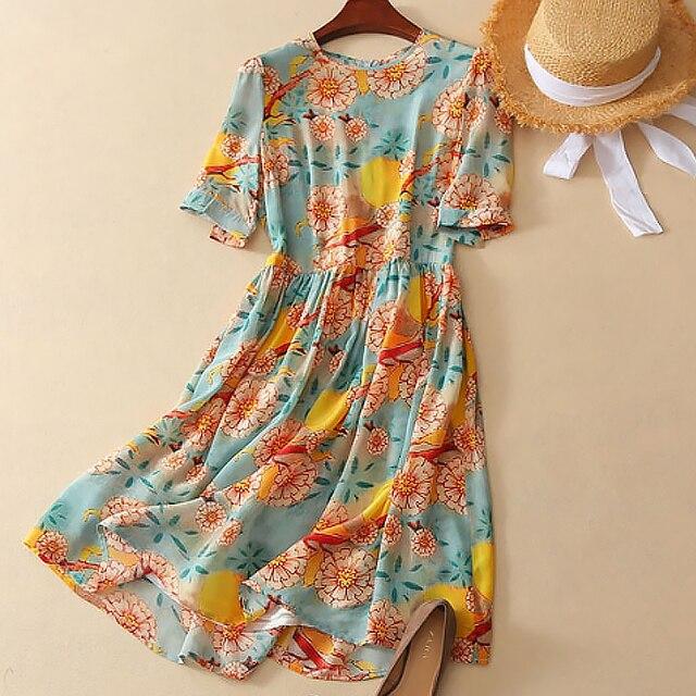 Real Silk Dresses Women Natural Silk 2019 Printed O-neck Elegant High Quality Sun Flower Dress Women